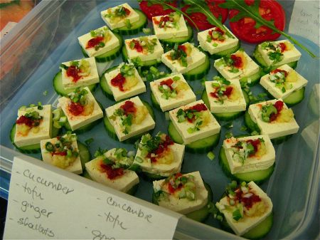 Tofu Cucumber Squares with Roasted Sesame Oil, Ginger, Shallots, Lime ...
