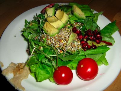 raw-salad-miso-tahini-avocado-pomegranate-lettuce-cherry-tomato-sprouts