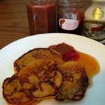 Banana-Apple Gluten-Free Pancakes with Strawberry-Rhubarb Jam and Maple Syrup
