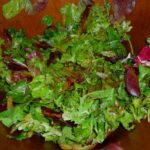 Organic Greens Salad with Strawberry Balsamic Vinaigrette and Roasted Green Beans