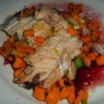 A Delicious Mess: Roasted Salmon in Red Wine Sauce with Sweet Potatoes and Leeks
