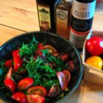 Lufa Farms Red, Yellow, Cherry and Zebrino Tomato and Arugula Salad with Peach-Sunflower Oil Vinaigrette