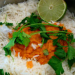 Malaysian Breakfast: Coconut Rice with Red Curry Sambal and Swiss Chard