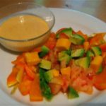 Tomato, Orange Pepper, Mango and Avocado Salad with Smoked Chipotle Aioli