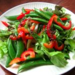A Summer Salad: Sugar Snap Pea and Red Peppers with Lemon-Anchovy Vinaigrette