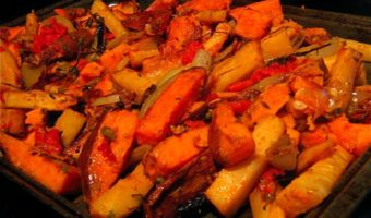 """Plenty"" of Roasted Sweet Potatoes, Parsnips, Tomatoes and Capers"