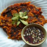 Sweet Potato Pancakes with Spicy Soy-Lime Dipping Sauce and Avocado
