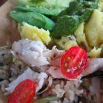 Seared Amazonian Paiche Fish with Huacatay Yellow Potatoes, Avocado and Coca Leaf Rice
