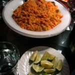 "Peruvian ""Arroz con Mariscos"": Rice with Seafood and Chili Pepper-Tomato Sauce"