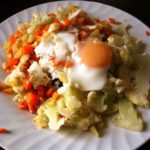 Baked or Poached Egg and Carrot-Cauliflower Hash