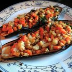 Stuffed Eggplant with Sweet Potatoes, Cauliflower and Lemon