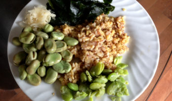 Vegan Comfort: Brown Rice Pilaf with Fava Beans, Sauerkraut and Seaweed