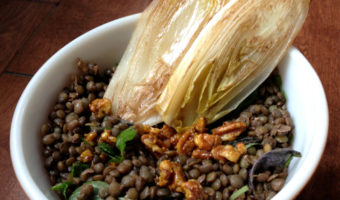 Making Friends With Salad: Du Puy lentils with red wine-maple vinaigrette, candied pecans and grilled endive