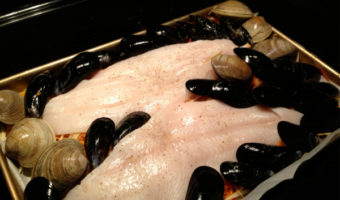 One-Dish Seafood Bake: Prosecco-Poached Turbot, Mussels and Clams with Herb Vinaigrette