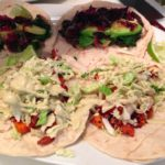 Sweet Potato Tacos with Creamy Roasted Poblano Pepper Salsa and Sweet Pickled Shallots