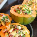 Stuffed Acorn Squash with Apple Pico de Gallo, Sherry and Toasted Pecans