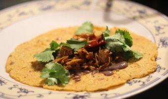 Modernist Tacos: Pressure-Cooker Carnitas with Black Bean Foam, Caramelized Sweet Potatoes and Handmade Tortillas