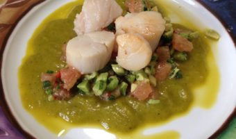 Dived Scallops with Avocado and Pink Grapefruit Salsa