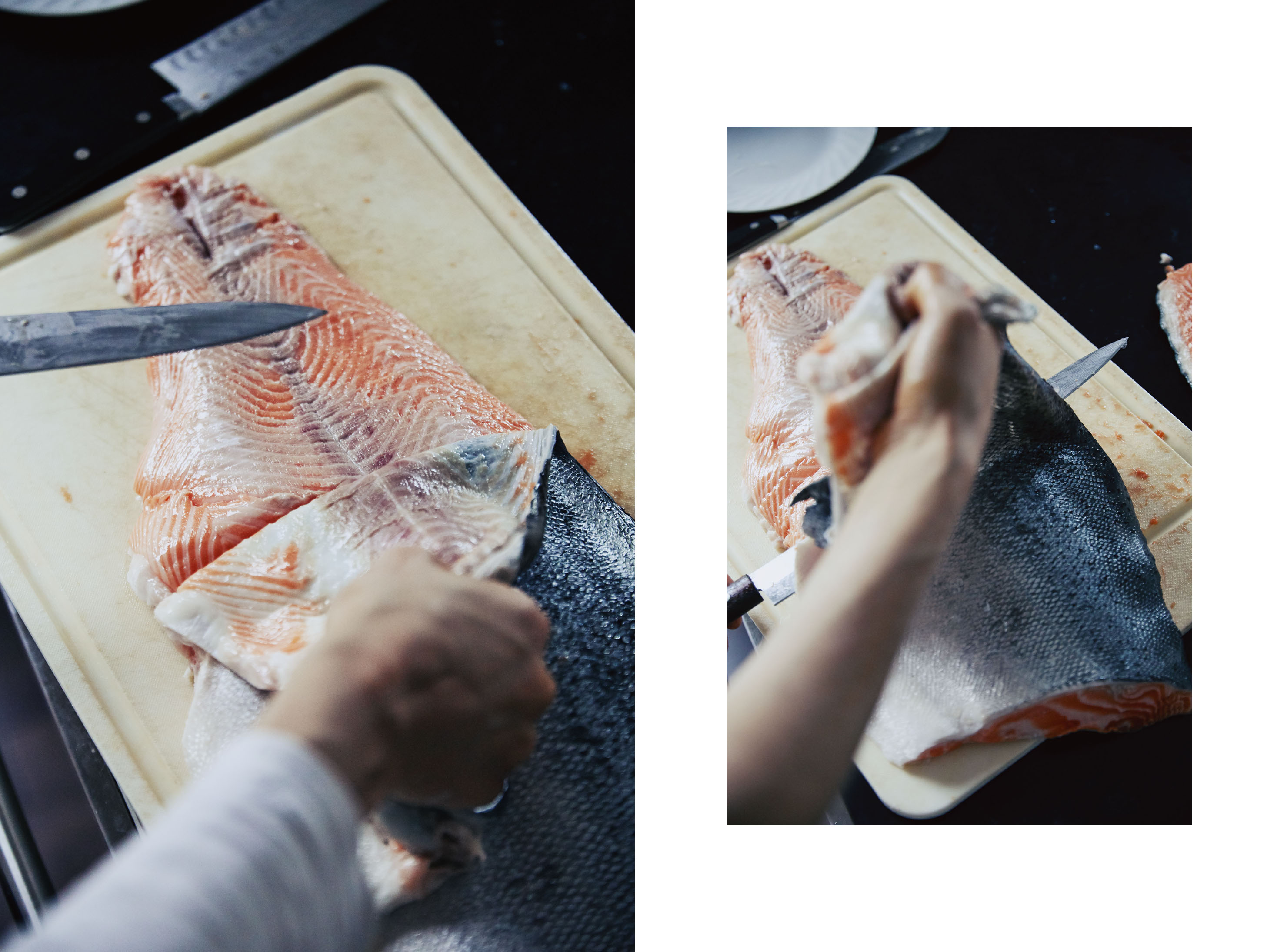 SALMON how to skin a fish fillet