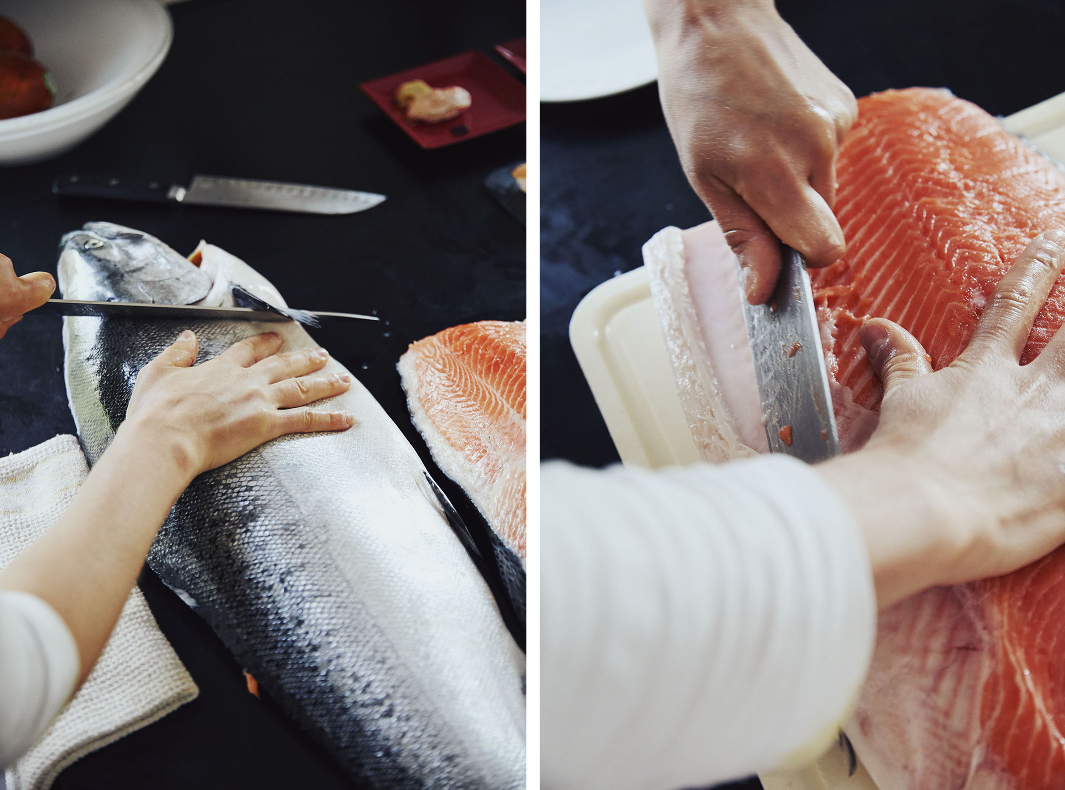 how to fillet a whole salmon and cut for sushi