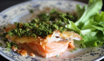 Butter Basted Sustainable Salmon with Hazelnut-Parsley Pesto