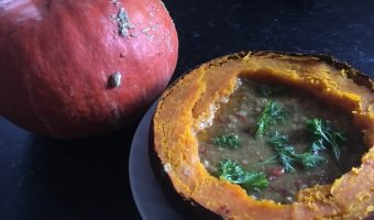 Vegetarian Lentil Stew in a Baked Squash Bread Bowl, Plus a Thanksgiving Story