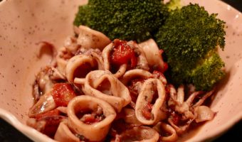 Tender Pressure Cooker Calamari with Red Wine-Tomato Sauce (aka a Messy Sunset and How to Clean Squid)