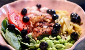 Wild Blueberry Poke Bowl with Nordic Shrimp and Roast Chicken