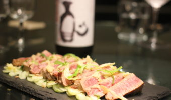 Seared ponzu-marinated tuna and Toji No Banshaku brewmaster's choice sake